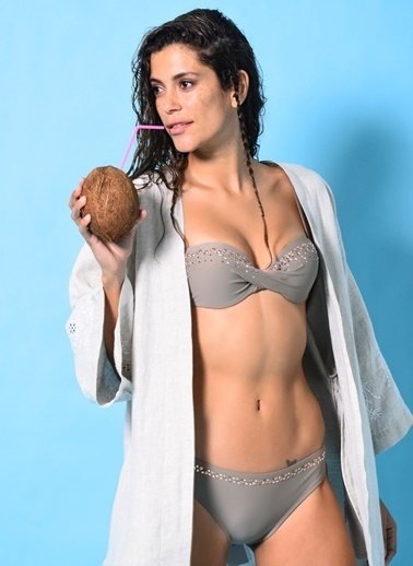 Loves You Taş Detaylı Bikini Takım Vizon